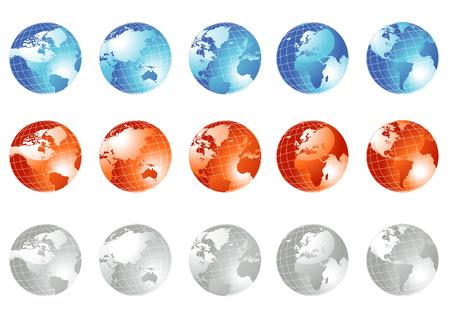 Earth globe set in three colors, vector Stock Vector - 4922174