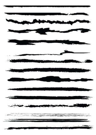 Set of grunge line brushes, original vector illustration