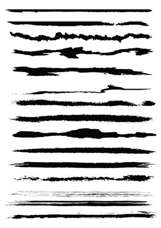 Set of grunge line brushes, original vector illustration