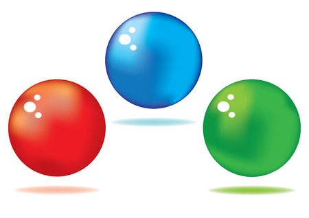 vector set of different colored shiny spheres Vector