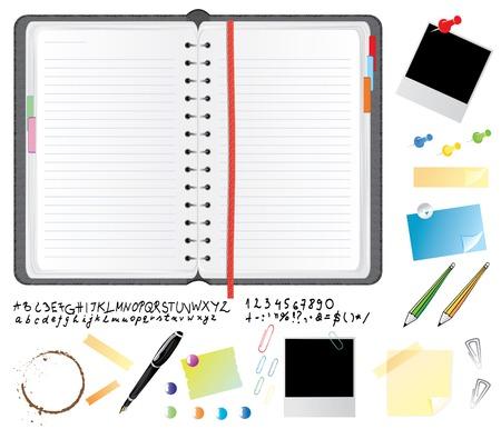 바인더: Realistic leather daily planner with font and office items, vector illustration
