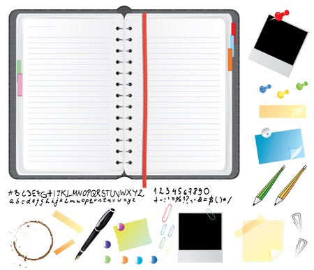 Realistic leather daily planner with font and office items, vector illustration