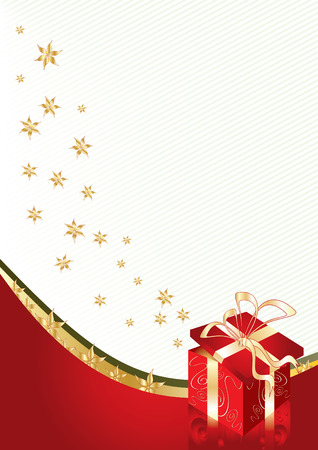 Greeting card with gift box and copy space, vector illustration   Vector