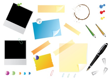 Office set with polaroids, stickers and pins, vector illustration