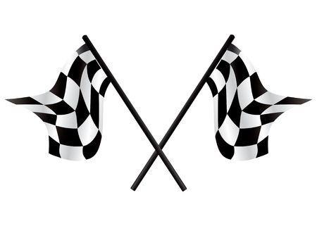 fastest: Checkered flags - racing simbol, illustration