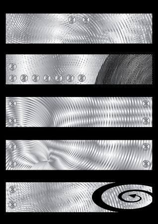 moire: Five Metal textured banners, illustration