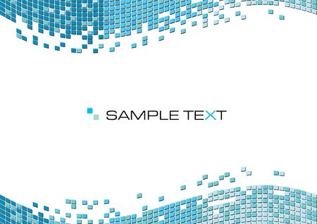 Blue squares mosaic abstract background, illustration Stock Photo