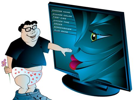 Computer geek using touch-screen for internet virtual dating services, illustration illustration