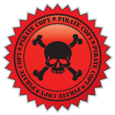 Pirate copy label with scull, illustration Stock Illustration - 5249685