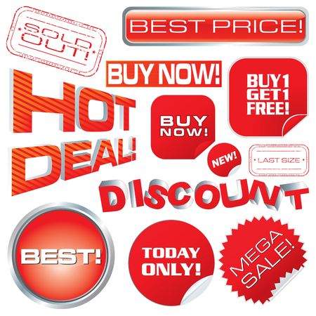Set of sale marks, tags and stickers, illustration