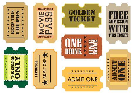 entry admission: Set of Vintage cinema tickets, illustration