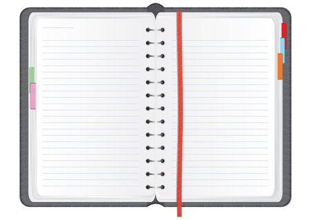 organizer page: Bloc de notas en un vector realista textura de cuero cubierta, ilustraci�n