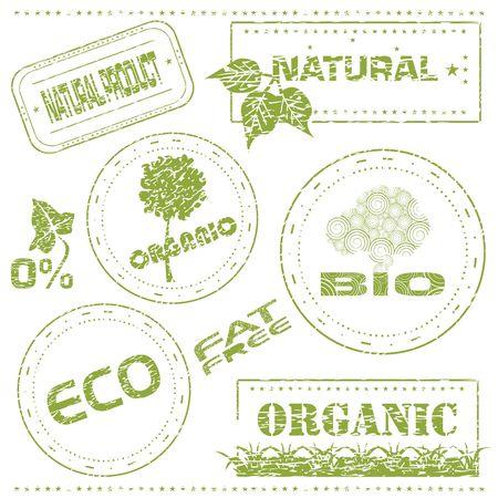 Set of grungy eco stamps, illustration illustration