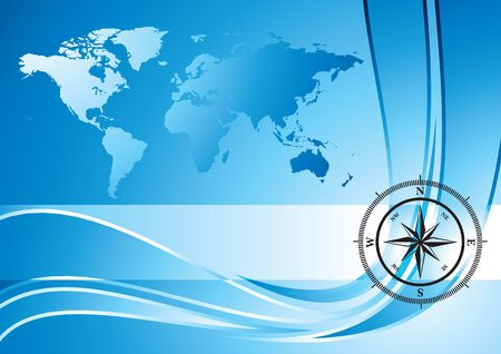 Blue background with compass and world map, illustration illustration