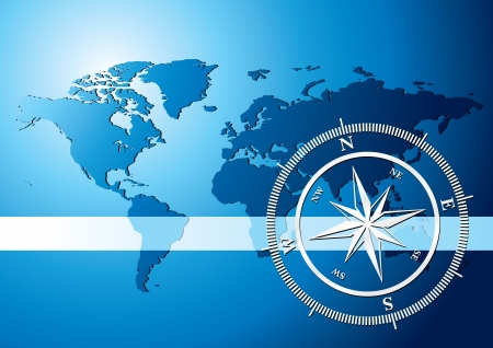 Silver compass with world map background, illustration Stock Illustration - 5310433