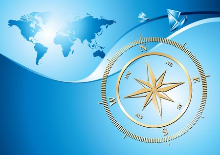 Gold compass with world map background, illustration  illustration