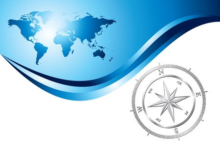 compass rose: Silver compass with world map background, illustration
