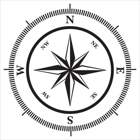 nautical star: Compass rose in black and white, illustration Stock Photo