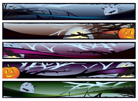Set of five halloween banners - 468x60 pix each, illustration