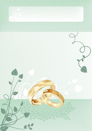 Wedding card with gold rings, illustration Stock Illustration - 5574786