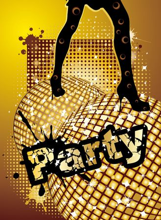 nightlife: Party background with disco ball and woman legs, illustration