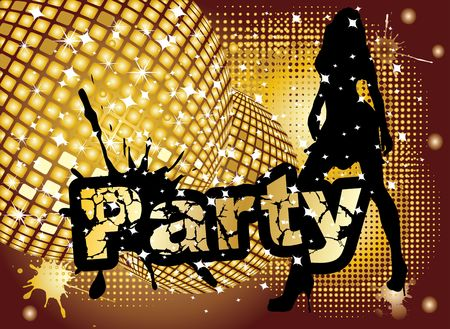 Party background with disco ball and girl silhouette, illustration