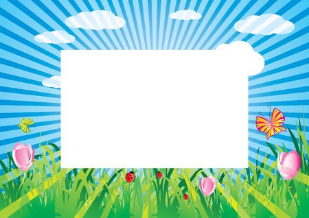 Summer shiny meadow with blank frame, illustration Stock Illustration - 5719648