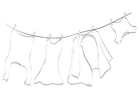 wet shirt: Line art of washing lines with drying clothes, illustration