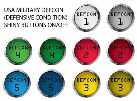 USA military DEFCON shiny buttons OnOff, illustration illustration