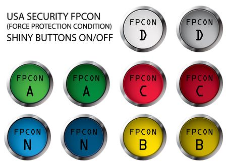 charlie: USA military FPCON shiny buttons OnOff, illustration Stock Photo