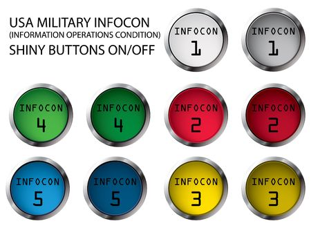 USA military INFOCON shiny buttons On/Off, illustrations Stock Illustration - 5821138