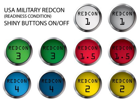 USA military REDCON shiny buttons On/Off, illustrations Stock Illustration - 5821137