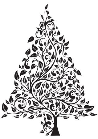 Artistic pine tree isolated over white, illustration illustration