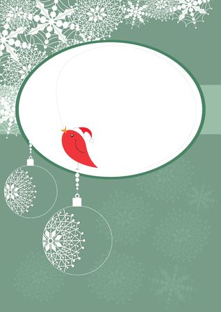 Christmas card with small robin singing, illustration Stock Illustration - 5897101