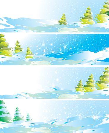 Set of four winter landscape banners, illustration illustration