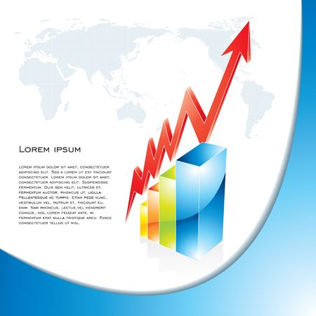 Business background with shiny graph and world map, illustration illustration