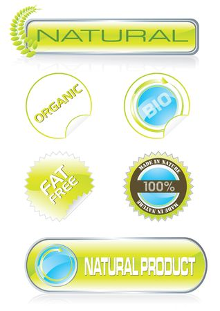 Nature stickers and buttons set, illustration Stock Illustration - 6034892