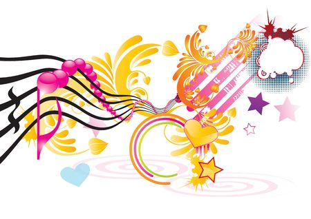 Funky music background with pink notes, illustration illustration