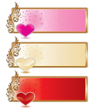 Valentine banner set with shiny hearts, illustration illustration