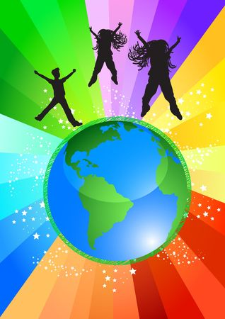 top of the world: Happy kids dancing on top of the world, illustration  Stock Photo