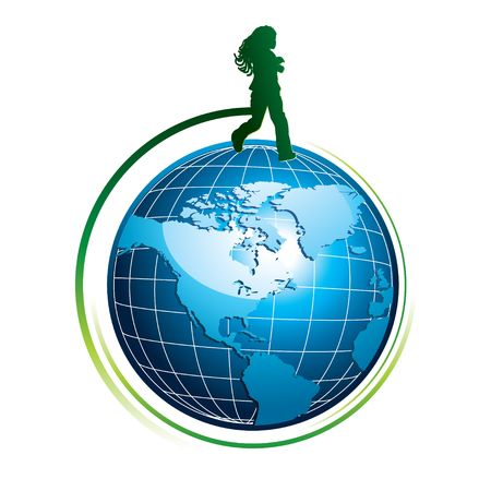 Runing girl silhouette on top of the world, illustration Stock Illustration - 6174990