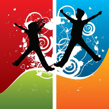 Boy and girl silhouettes joyful jumping, illustration