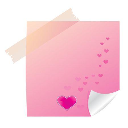 Sticky valentine note with heart, illustration illustration