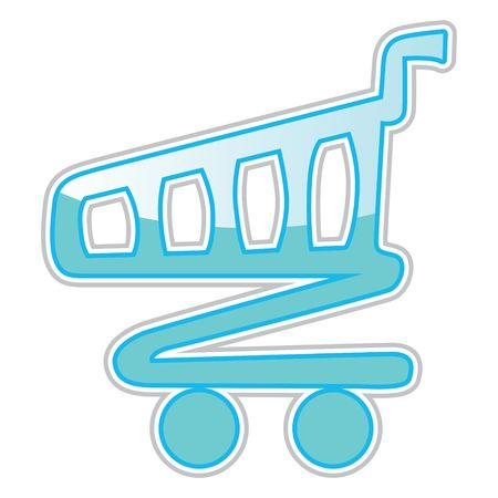 Shiny blue retro cart sticker, illustration illustration
