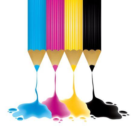 CMYK pencils with paint drop, illustration