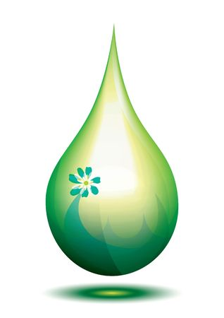 biodiesel: Green eco fuel drop, illustration Stock Photo