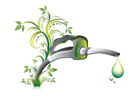 Biofuel green fuel  pump nozzle, illustration