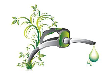 Biofuel green fuel  pump nozzle, illustration