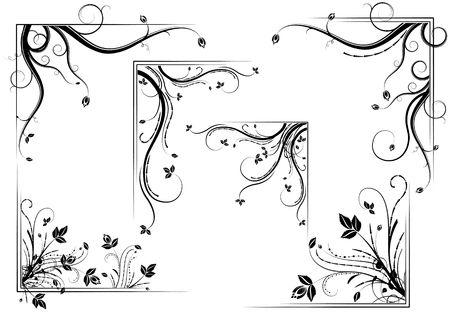 Black vintage floral corner set, illustration Stock Illustration - 6685428