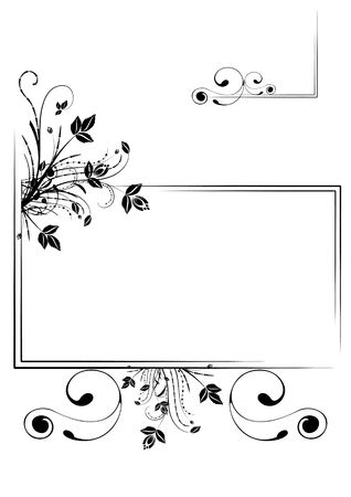 Monochrome floral scrap-booking frame, illustration Stock Illustration - 6685425